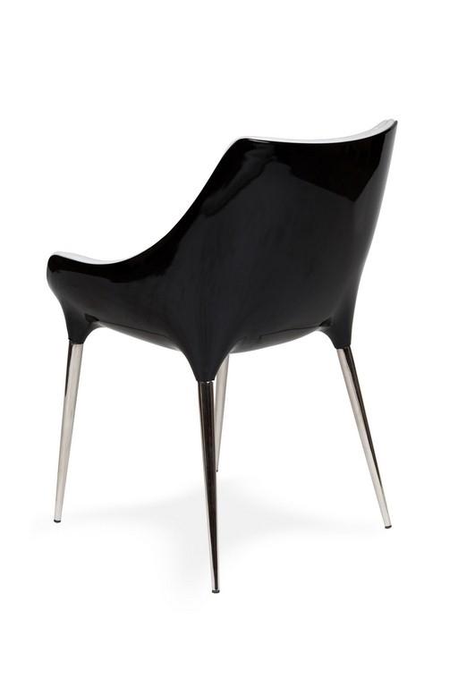 Fotel PASSION biało-czarny, ekoskóra - włókno szklane, podstawa chromowana - zdjęcie nr 1