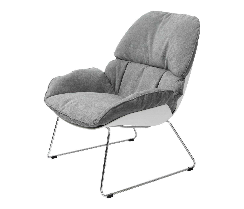 Fotel NINO jasno szary, płozy - polipropylen, podstawa chromowana - zdjęcie nr 0
