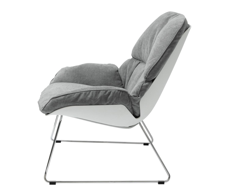 Fotel NINO jasno szary, płozy - polipropylen, podstawa chromowana - zdjęcie nr 3