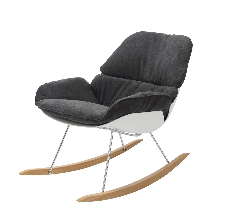 Fotel bujany NINO ciemno szary - tkanina ciemno szara, płozy bukowe - zdjęcie nr 0