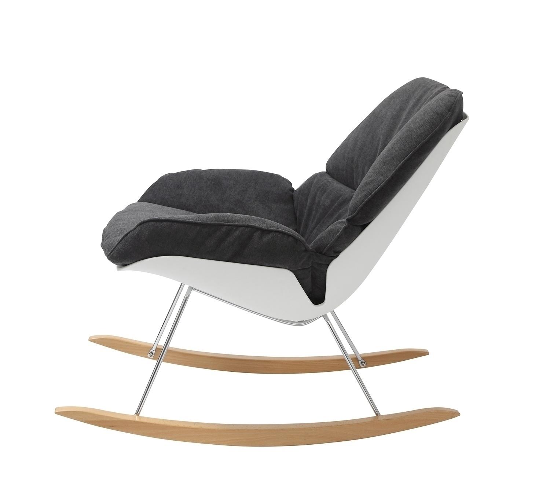 Fotel bujany NINO ciemno szary - tkanina ciemno szara, płozy bukowe - zdjęcie nr 4