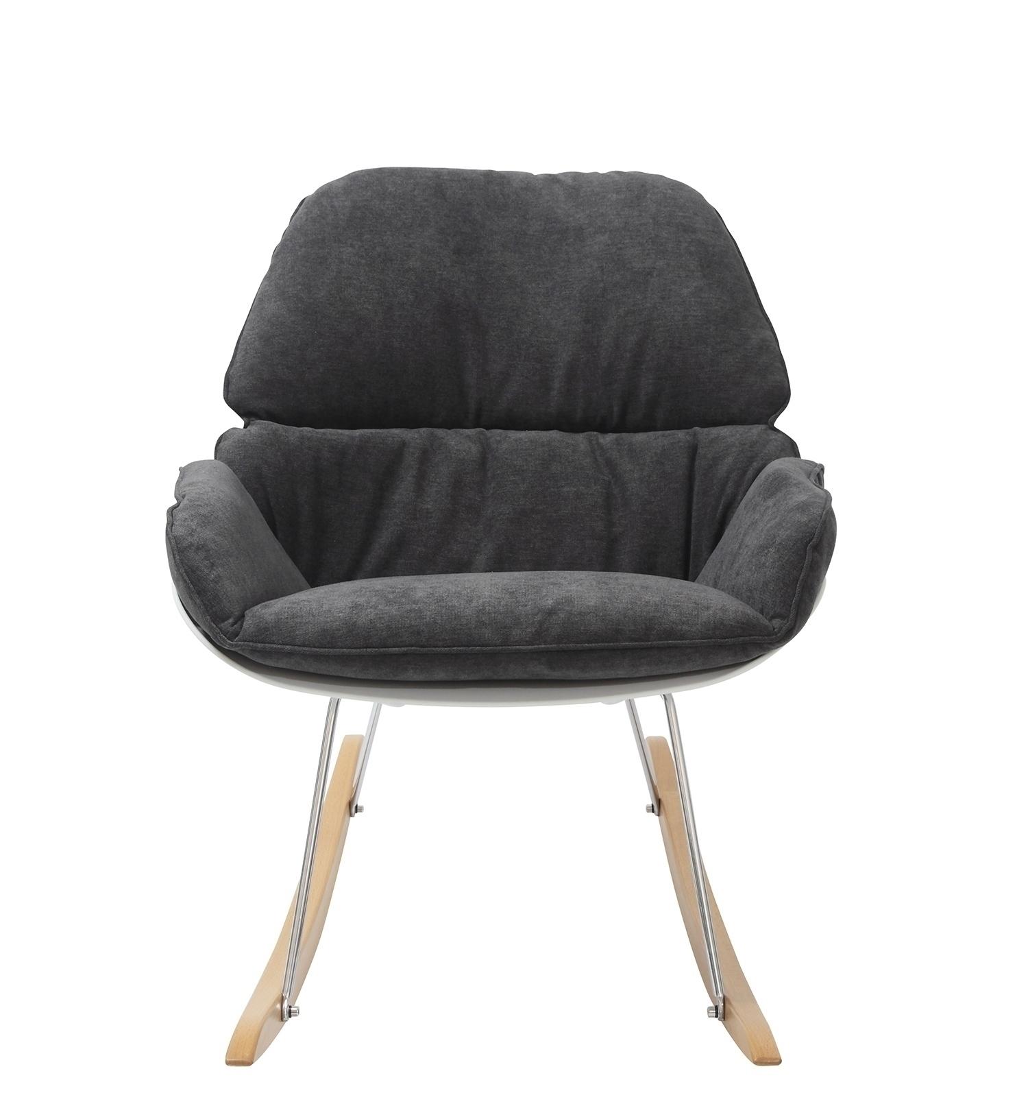 Fotel bujany NINO ciemno szary - tkanina ciemno szara, płozy bukowe - zdjęcie nr 3