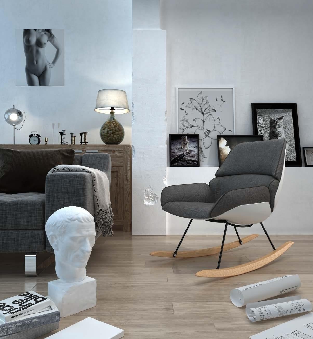 Fotel bujany NINO ciemno szary - tkanina ciemno szara, płozy bukowe - zdjęcie nr 2