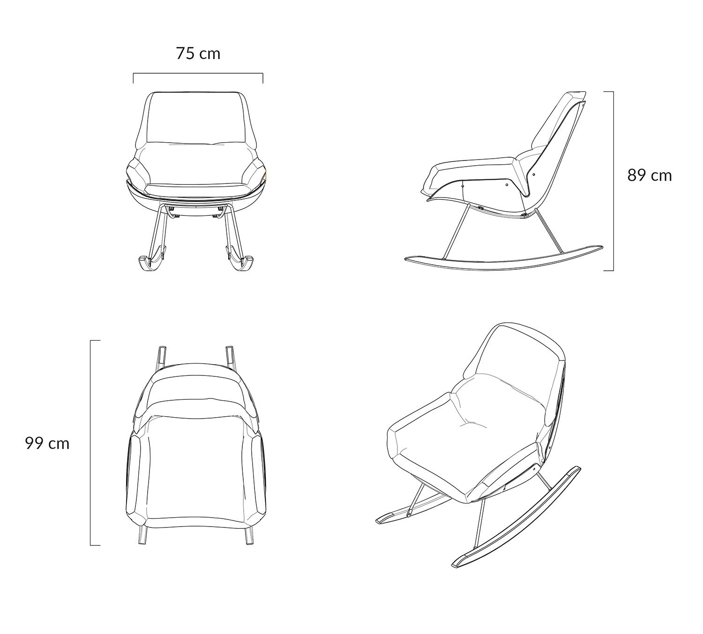 Fotel bujany NINO ciemno szary - tkanina ciemno szara, płozy bukowe - zdjęcie nr 1