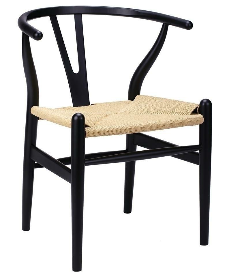 Krzesło WISHBONE czarne - drewno bukowe, naturalne włókno - zdjęcie nr 0