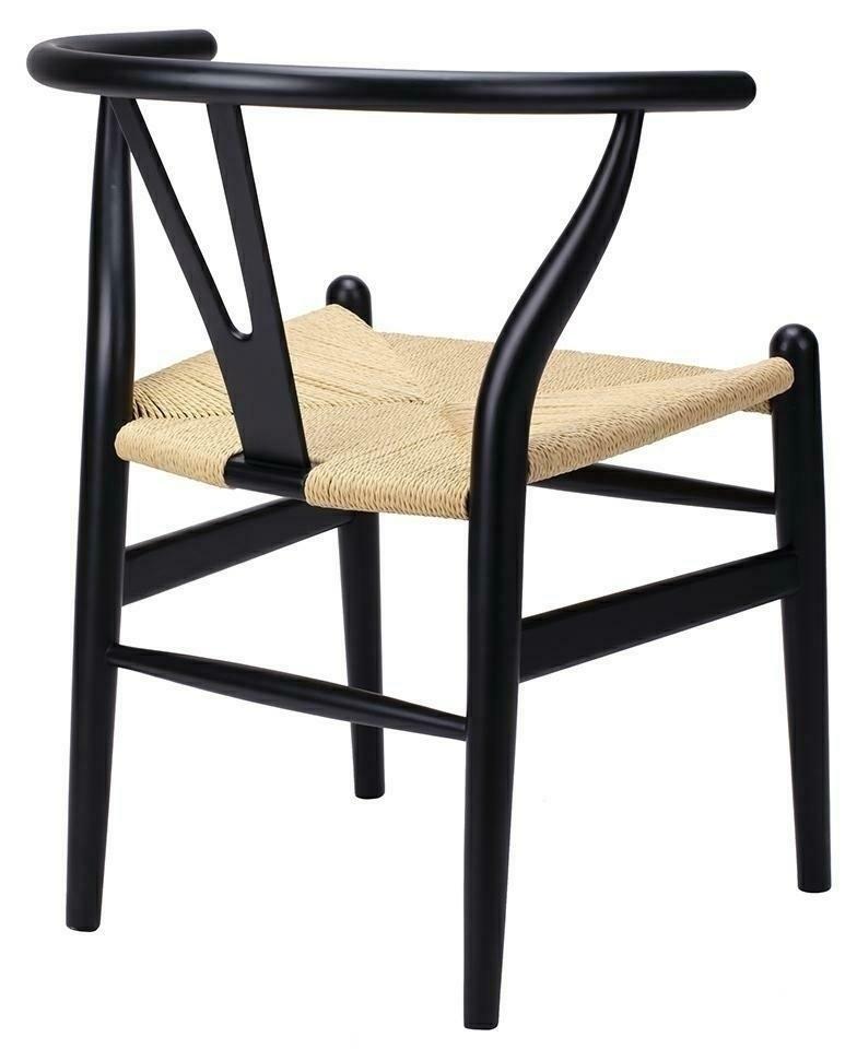 Krzesło WISHBONE czarne - drewno bukowe, naturalne włókno - zdjęcie nr 1