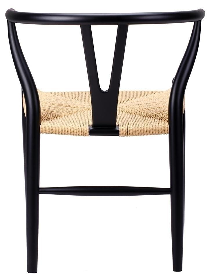 Krzesło WISHBONE czarne - drewno bukowe, naturalne włókno - zdjęcie nr 2