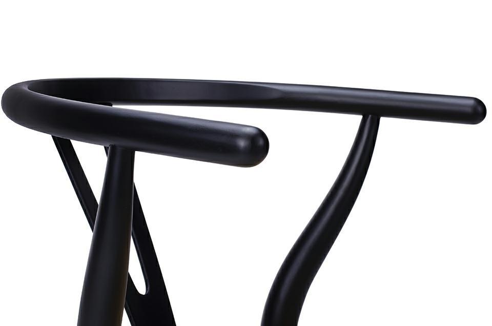 Krzesło WISHBONE czarne - drewno bukowe, naturalne włókno - zdjęcie nr 3