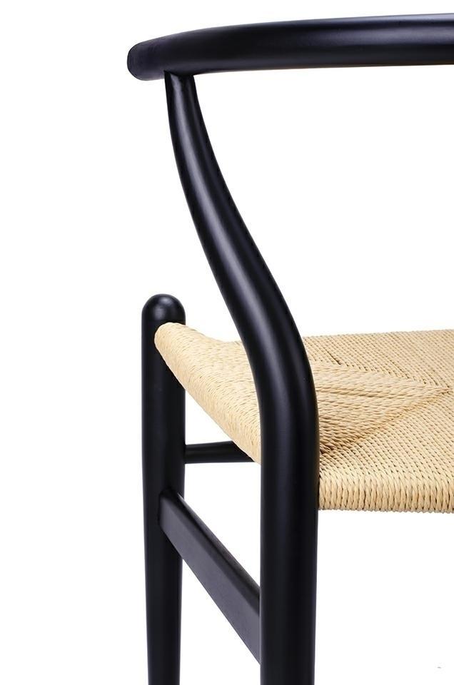 Krzesło WISHBONE czarne - drewno bukowe, naturalne włókno - zdjęcie nr 4