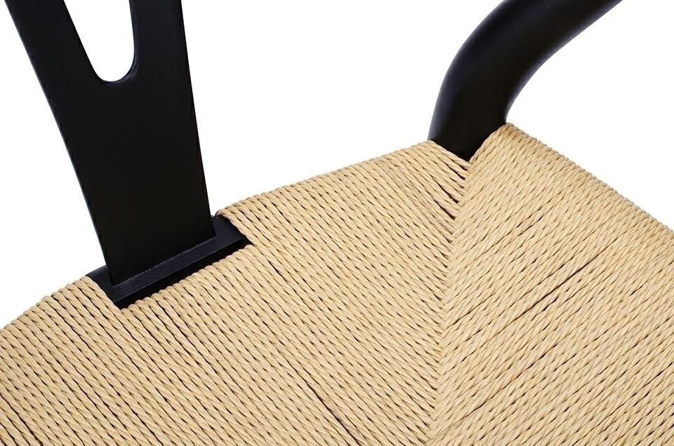 Krzesło WISHBONE czarne - drewno bukowe, naturalne włókno - zdjęcie nr 5