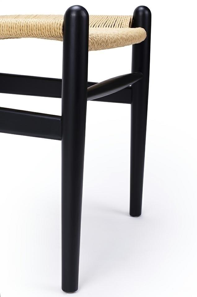 Krzesło WISHBONE czarne - drewno bukowe, naturalne włókno - zdjęcie nr 6