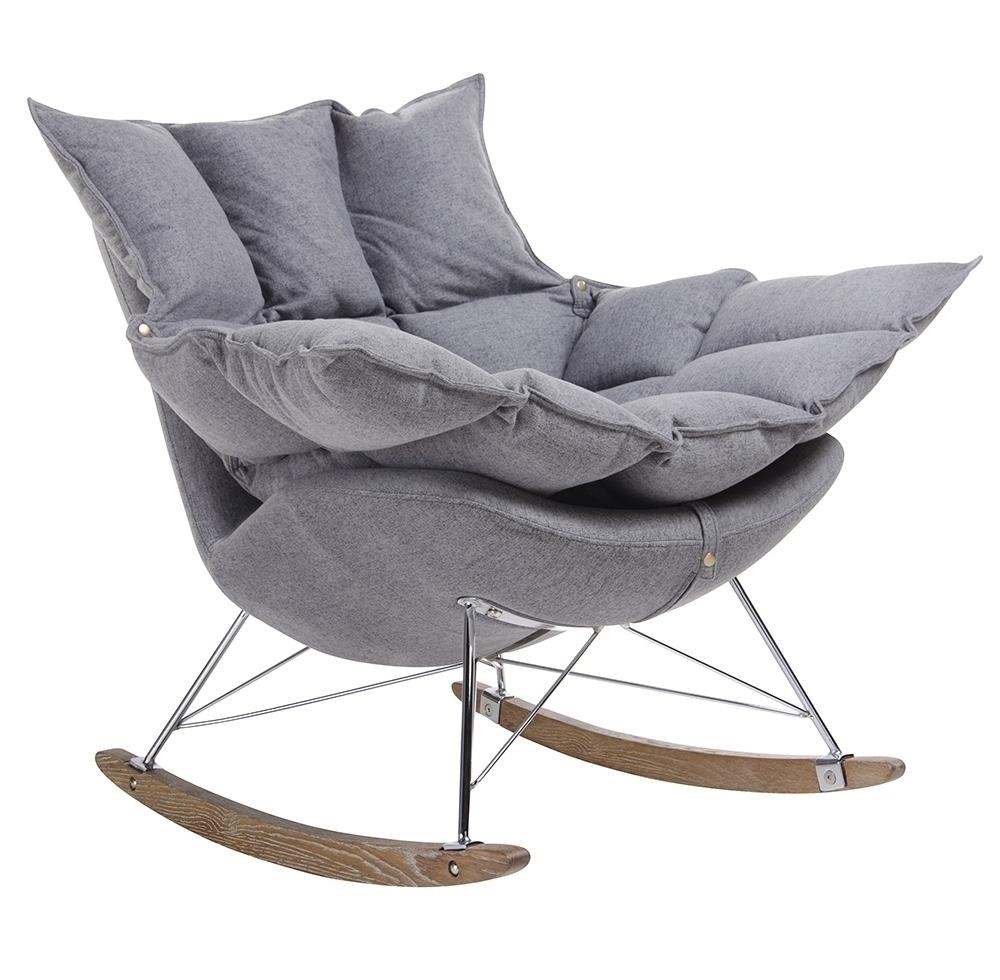 Fotel bujany SWING ciemny szary - tkanina, stal, drewno dębowe - zdjęcie nr 0