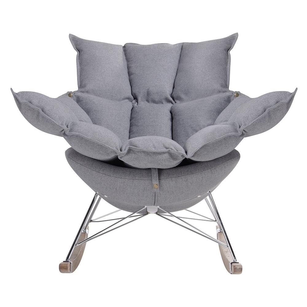 Fotel bujany SWING ciemny szary - tkanina, stal, drewno dębowe - zdjęcie nr 1