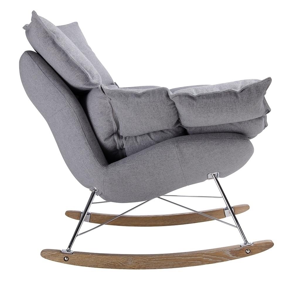 Fotel bujany SWING ciemny szary - tkanina, stal, drewno dębowe - zdjęcie nr 3