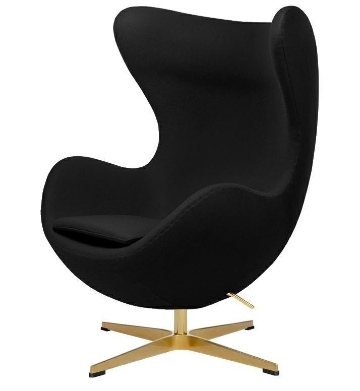Fotel EGG CLASSIC GOLD czarny.30 - wełna, podstawa złota