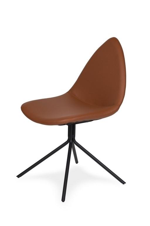 Krzesło ZANNA rude - ekoskóra, podstawa metalowa czarna
