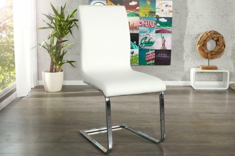 Krzesło HAMPTON białe - ekoskóra, chrom