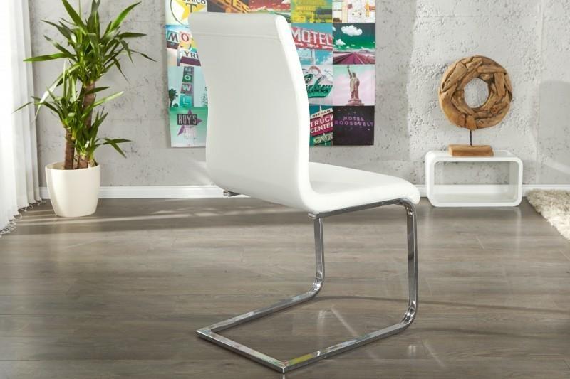 Krzesło HAMPTON białe - ekoskóra, chrom - zdjęcie nr 1