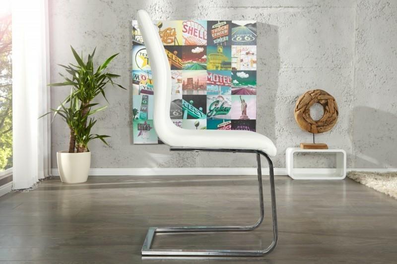 Krzesło HAMPTON białe - ekoskóra, chrom - zdjęcie nr 2