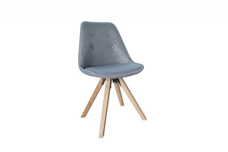 Krzesło tapicerowane HUGO WOOD szare - pikowane